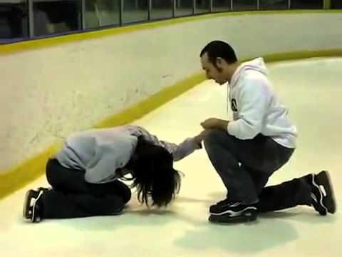 Man Proposes To Girlfriend While Ice Skating Wedding Proposal