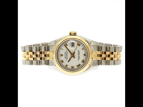Rolex Datejust White Roman Dial Jubilee Bracelet Two Tone Ladies Watch 179173