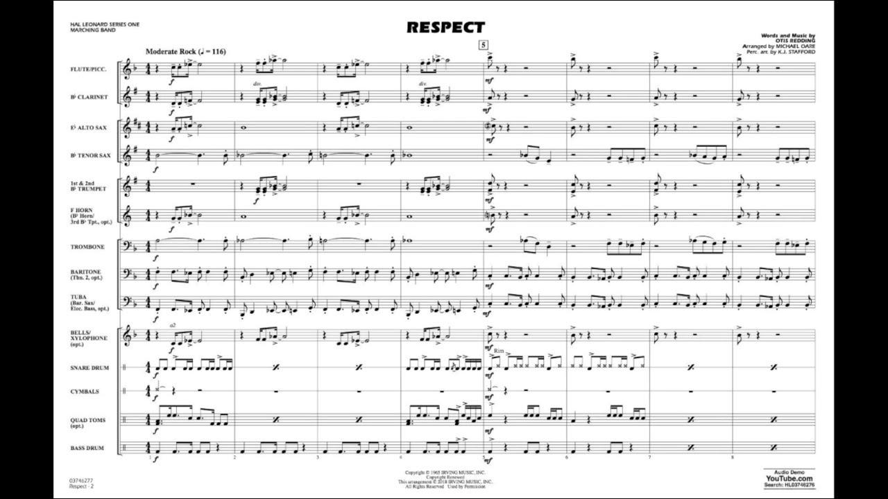 Respect by Otis Redding/arranged by Michael Oare