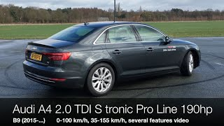 2016 audi a4 b9 2 0 tdi 190hp s tronic 0 100 km h 35 155 km h drive along new features