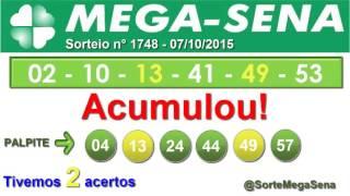 RESULTADO MEGA SENA - 1748 - 07/10/2015 - quarta-feira - SorteMegaSena