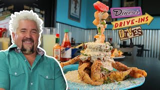 Guy Fieri Eats a Gigantic Seafood TOTEM POLE (from #DDD) | Food Network