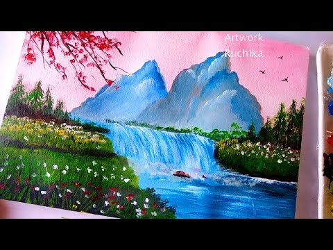 Beautiful Landscape Painting Easy Scenery Painting Beginner Acrylic Painting Youtube