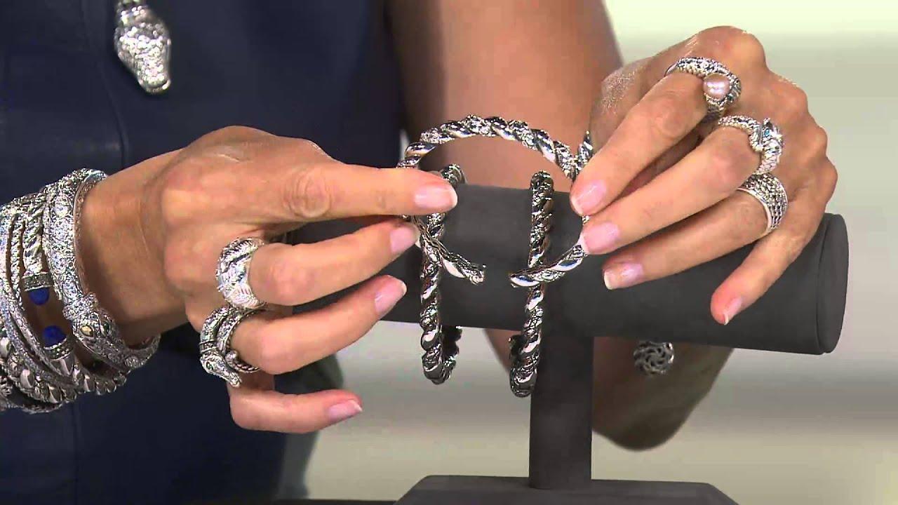 Jai John Hardy Sterling Croco Texture Twist Hinged Cuff Bracelet With Nancy Hornback