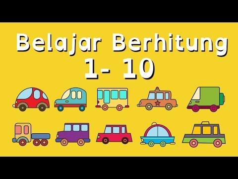 Belajar Berhitung Angka 1 - 10 untuk Anak Balita (PAUD) dengan Kartun Mobil