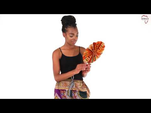 African kente print leather folding fan from Africa Imports