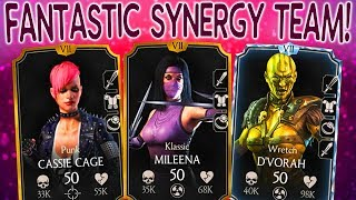 MKX Mobile. UNBELIEVABLE VICTORY with SUPER WEIRD Klassic Mileena Team!