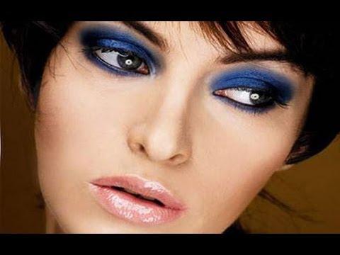 Два варианта макияжа в синих тонах