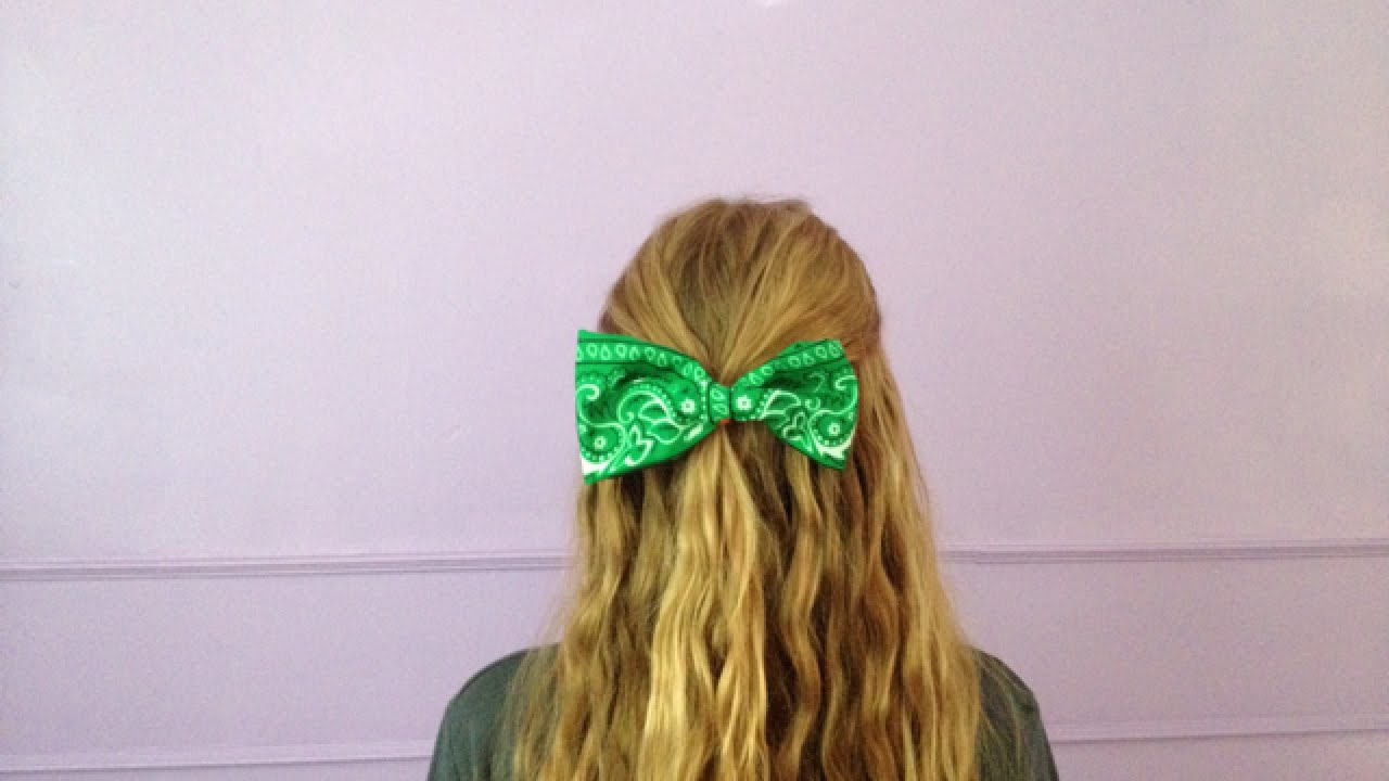 how to make a hair bow out of a bandana