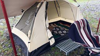 雨の中、ただ、タープにあたる雨音に癒されたくて 梅雨のデイキャンプに...