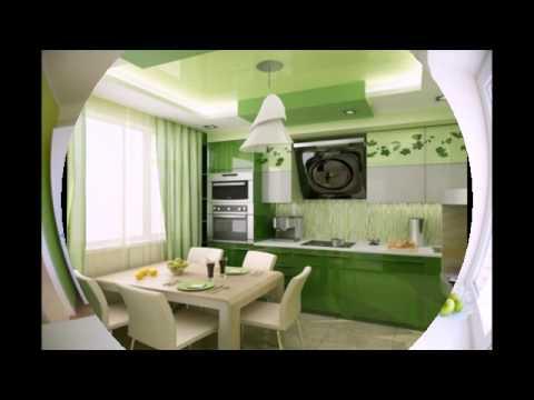Бело-зеленые кухни в интерьере