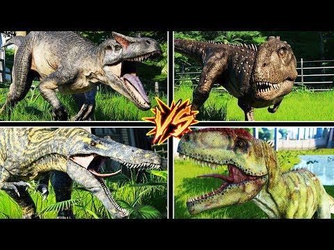 ALLOSAURUS VS SUCHOMIMUS VS GIGANOTOSAURUS VS TODOS | JURASSIC WORLD EVOLUTION #16