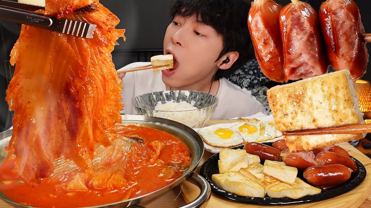ASMR MUKBANG | 직접 만든 돼지 김치찌개 계란후라이 소세지 두부 구이 김치 김 먹방 & 레시피 KIMCHI STEW AND TOFU SAUSAGE EATING
