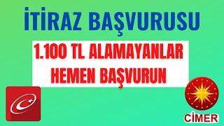 1100 TL ALAMAYANLAR HEMEN BAŞVURUN - CİMER BAŞVURU