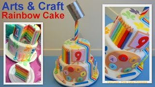 Gravity Defying Back to School Cake / Arts & Craft Rainbow Cake How to - Pink Cake Princess
