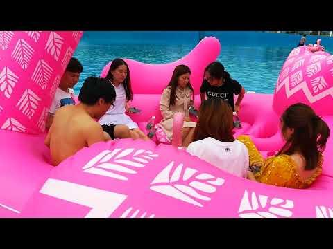 6 Person Big Flamingo Pool Floats Yunyang Company Filming