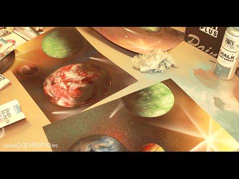 C mo pintar planetas con spray paint art para - Papel de pared para pintar ...