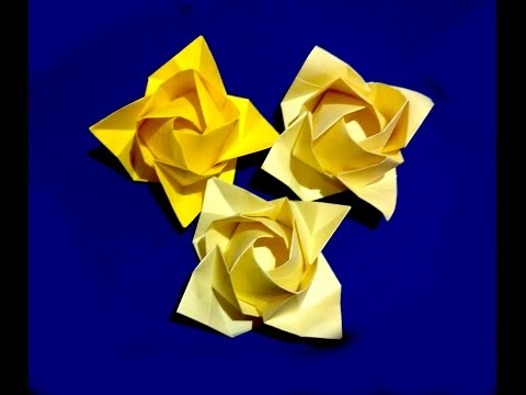 Origami rose - flower. Ideas for present decoration. Fukuyama Rose. Ideas for Valentine's day.