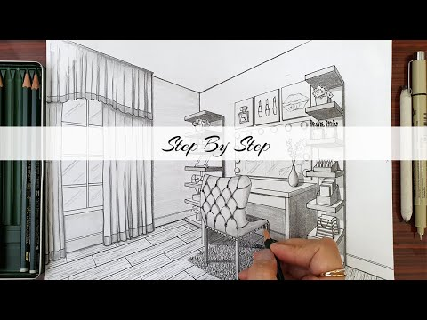 How to draw A Vanity Room In Two Point Perspective   Step By Step