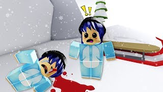 the most stubborn snow twins slip crack head ......... falling Roblox Meepcity Twins! |.