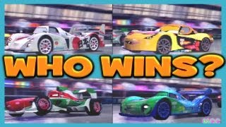 Cars 2 The Game MIGUEL CAMINO vs FRANCESCO BERNOULLI vs SHU TODOROKI vs CARLA 4 Player Race