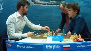 Magnus Carlsen (2872) vs Vladislav Artemiev (2731)    Tata Steel Masters 2020 - R12