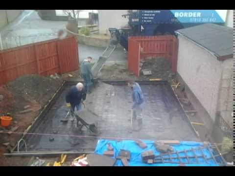 Pouring a concrete raft foundation