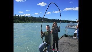 Fishing 12' Branch from Yard - Kenai River Sockeye Salmon Red Run Alder Bamboo Pole How to Cane Pole