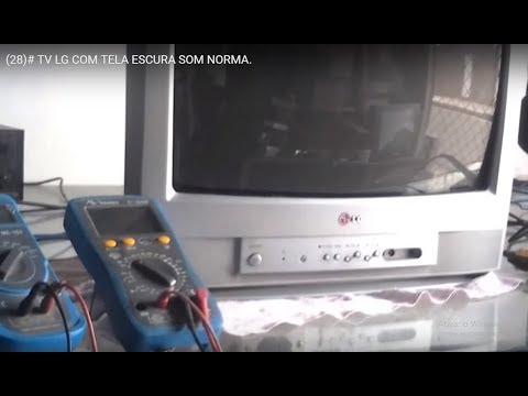 (28)# TV LG  COM TELA ESCURA SOM NORMA.