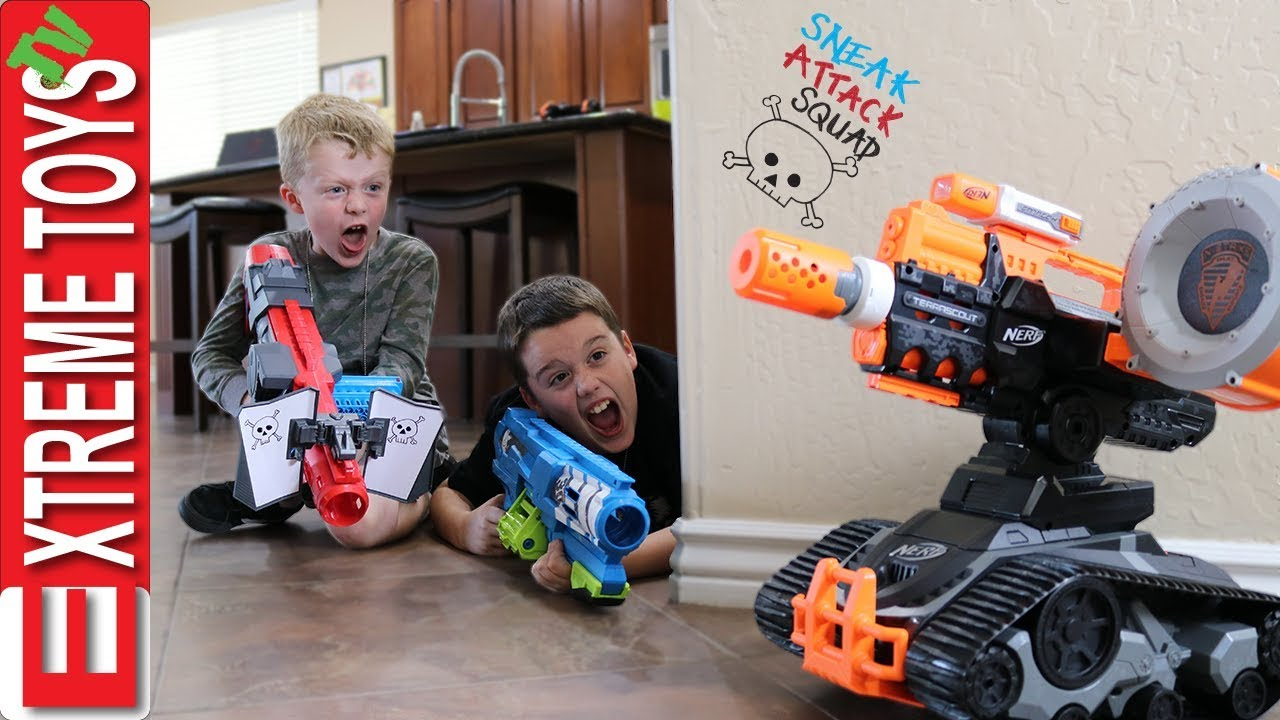 Download Evil Drone Vs. Sneak Attack Squad! Ethan and Cole get in to a Nerf Battle with a Crazy Robot