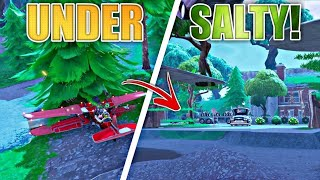 GET UNDER SALTY by doing this glitch in Fortnite | How to get under salty springs | Fortnite plane g