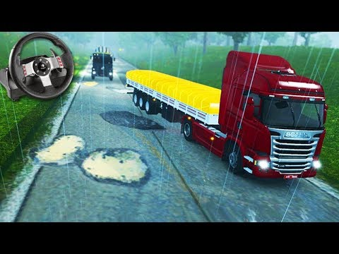 VIAGEM COM MUITOS BURACOS No BRASIL!!! - Euro Truck Simulator 2 + G27