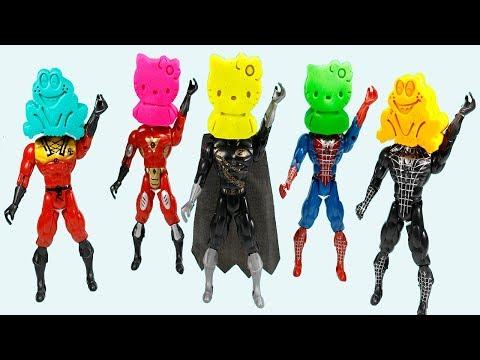 Play Doh Super Hero Spiderman, Batman vs Superman vs Captain America vs Ironman Learning Colors