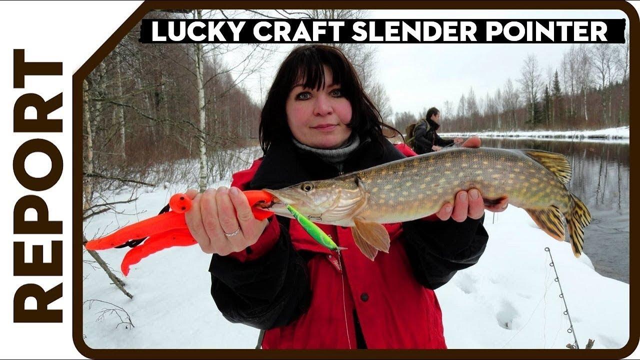 Раздача щуки на микроречке. Супер клёв на воблеры зимой. Lucky craft Slender Pointer удивил
