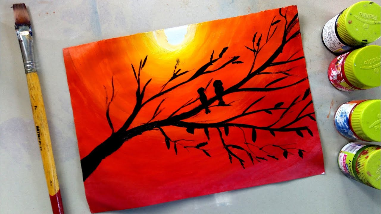 How To Draw Lovebirds In Sunset With Poster Colour Acrylic Panting Youtube
