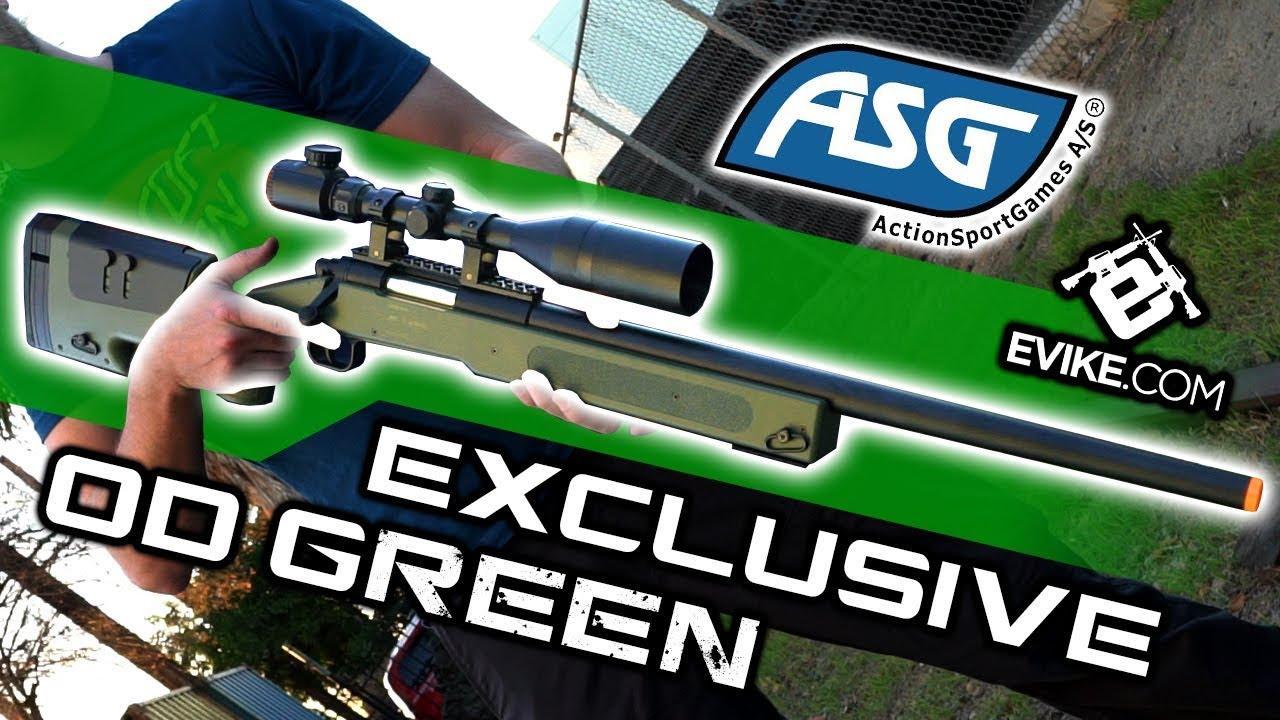 EVIKE COM EXCLUSIVE - ASG McMillan USMC M40A3 SportLine Sniper Rifle OD  Green