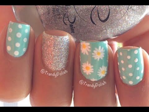 cute daisy nail art short nails
