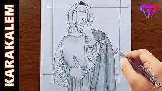 Fotoğraf çeken kapalı kız çizimi - Karakalem kız nasıl çizilir , karakalem çizimleri
