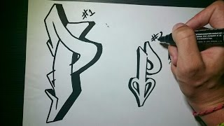 "How to draw Graffiti Letter ""P"" on paper"
