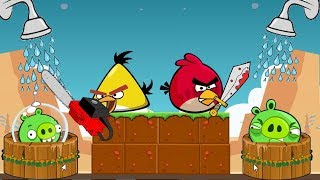 Angry Birds Take A Shower 2 - RED AND CHUCK STEALING SHOWER FOR STELLA FROM BAD PIGS!