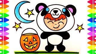 How to Draw a Cute Baby Panda Costume for Kids| Dressing Up Animals Halloween| Coloring for Children