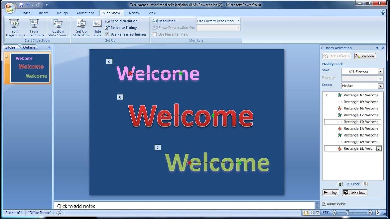 Tutorial Powerpoint 2007 Cara Membuat Efek Animasi Pada Text Di Microsoft Powerpoint Youtube
