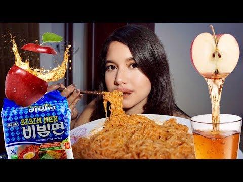 MIE RAMEN KOREA CAMPUR JUS APEL! ENAK?? | Mukbang & Eating Show