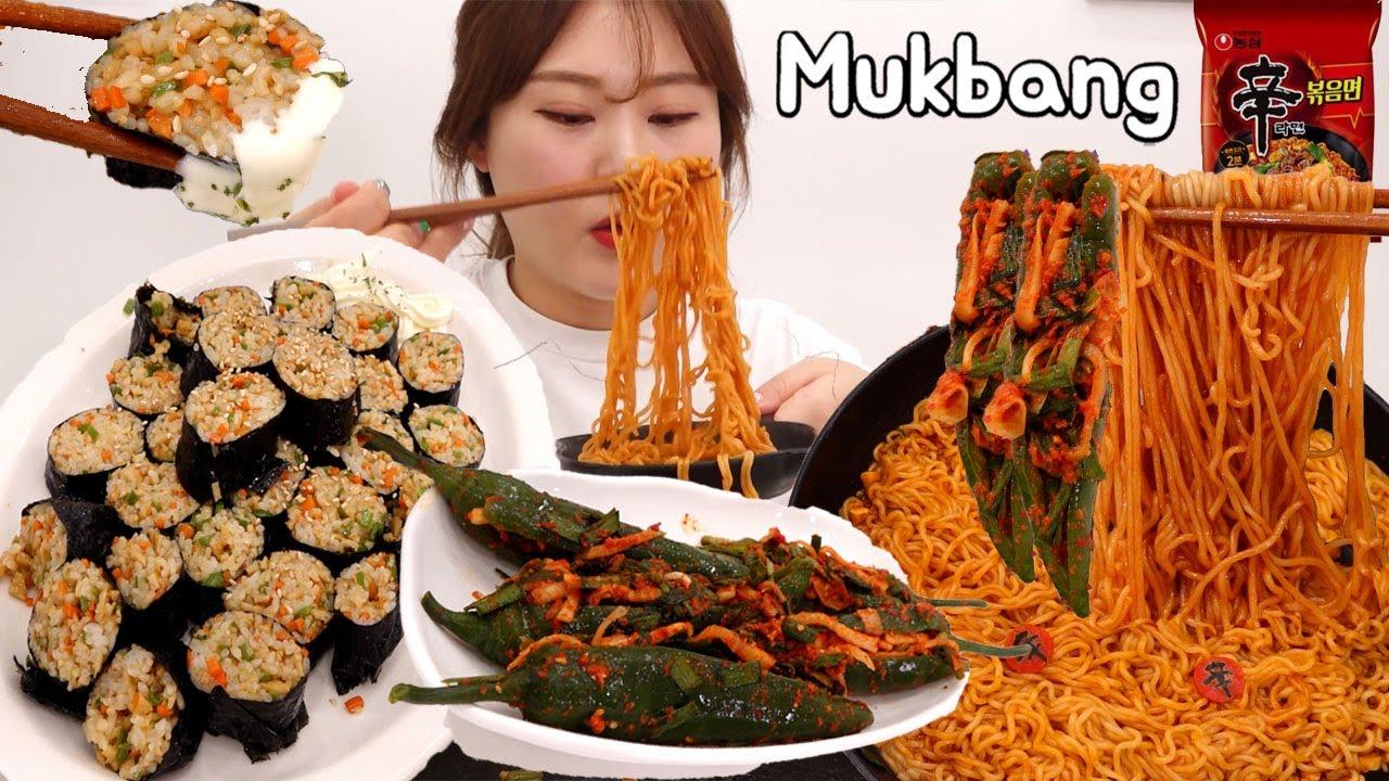 신메뉴 신라면 볶음면 맛보기 😋 처음 만들어본 매콤하고 맛있는 땡초 김밥과 고추김치 먹방!  Mukbang
