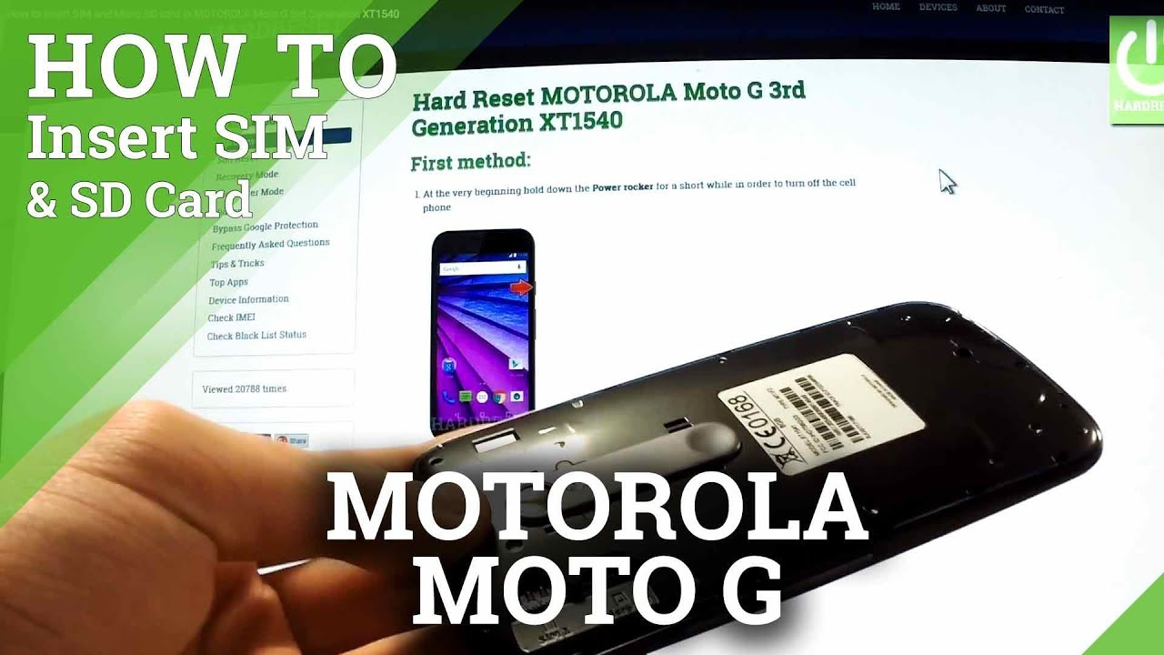 How to insert SIM and Micro SD card in MOTOROLA Moto G 3rd Generation XT1540