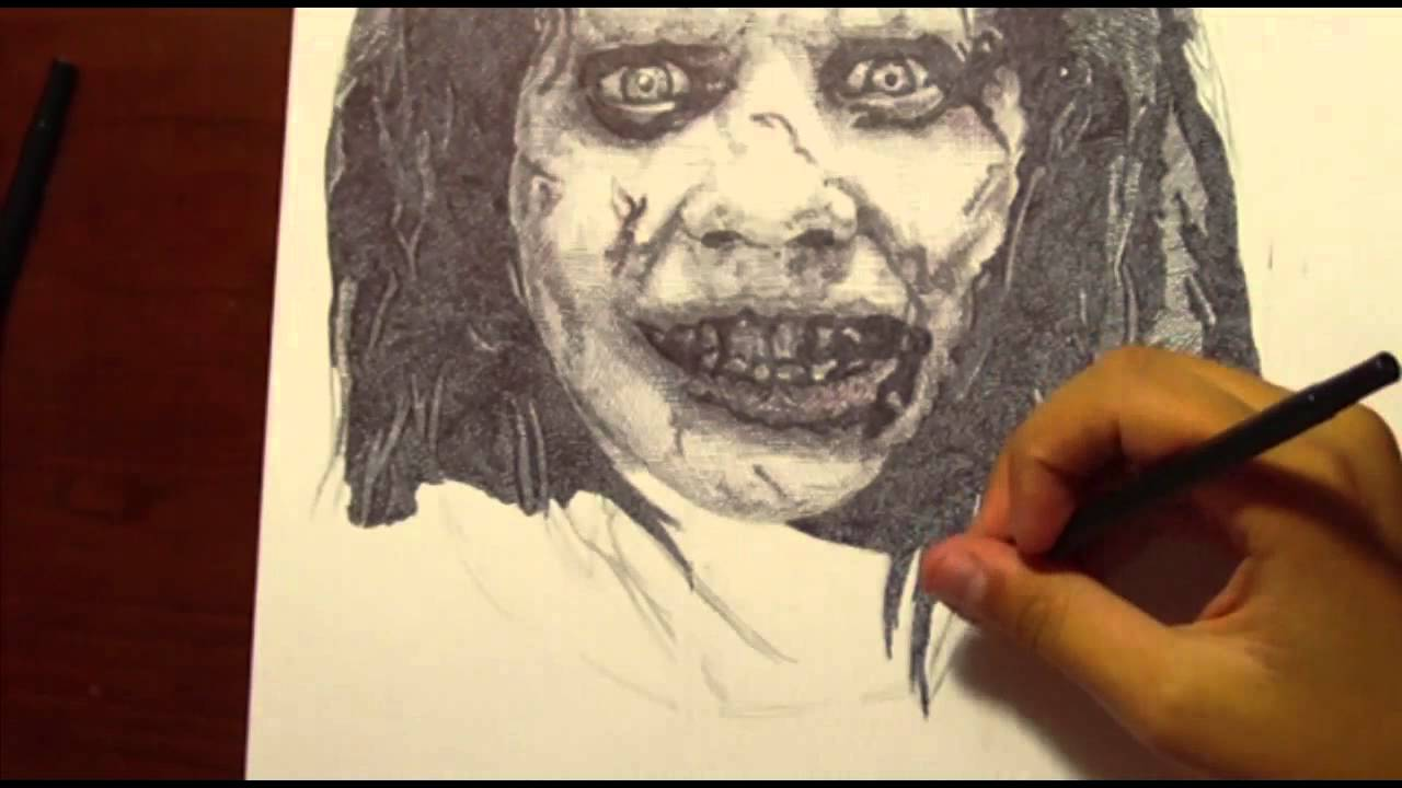 the exorcist drawing possessed regan with ballpoint pen