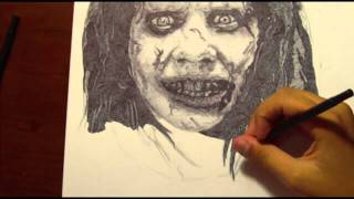 THE EXORCIST: Drawing Possessed Regan with Ballpoint Pen
