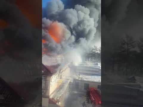 Торговый центр объят пламенем. Оха 10 февраля