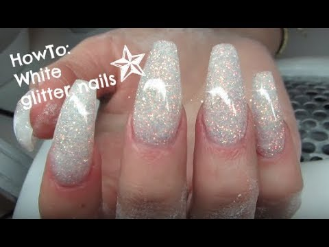 Howto White Glitter Coffin Shaped Nails