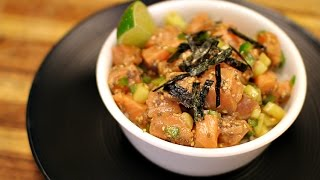 Salmon Poke Bowl - healthy recipe channel - seafood recipe - low carb - quick keto recipes